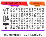vector icons pack of 120 filled ...   Shutterstock .eps vector #1244325250