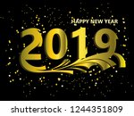 happy new year 2019.gold number.... | Shutterstock .eps vector #1244351809