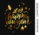 handmade lettering 'happy new... | Shutterstock .eps vector #1244353033