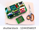 box with spool of thread and... | Shutterstock . vector #1244356819