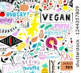 vector food pattern. funny... | Shutterstock .eps vector #1244357809