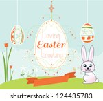 colorful easter card with... | Shutterstock .eps vector #124435783