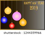 christmas card 2019 with a text ... | Shutterstock .eps vector #1244359966