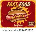 fast food vintage banner with... | Shutterstock .eps vector #1244359990