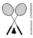sports game badminton. two... | Shutterstock .eps vector #1244389069