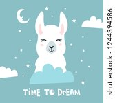 time to dream quote with... | Shutterstock .eps vector #1244394586