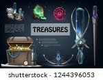 realistic treasures colorful... | Shutterstock .eps vector #1244396053