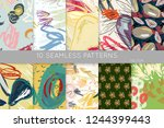 collection of seamless patterns.... | Shutterstock .eps vector #1244399443