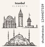 set of hand drawn istanbul... | Shutterstock .eps vector #1244407339