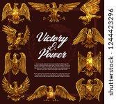 eagle or hawk as heraldic... | Shutterstock .eps vector #1244423296