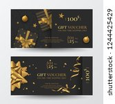 vector set of luxury christmas... | Shutterstock .eps vector #1244425429