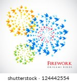 fireworks origami shaped from flying birds - stock vector