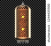 nixie tube indicator lamp with... | Shutterstock .eps vector #1244435500