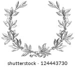 Laurel wreath. Decorative element at engraving style. - stock vector