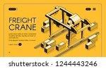 freight crane isometric vector... | Shutterstock .eps vector #1244443246