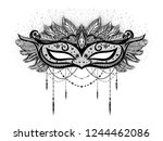 black carnival mask with... | Shutterstock .eps vector #1244462086