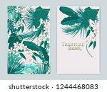 vector tropical background set... | Shutterstock .eps vector #1244468083
