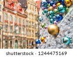 christmas balls with reflected... | Shutterstock . vector #1244475169