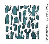 vector cactus design set. ... | Shutterstock .eps vector #1244484919