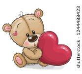 cute cartoon teddy bear with... | Shutterstock .eps vector #1244488423