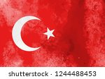 watercolor turkey flag...   Shutterstock .eps vector #1244488453
