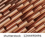 copper pipes  copper rolled... | Shutterstock . vector #1244490496