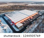 aerial view of warehouse... | Shutterstock . vector #1244505769