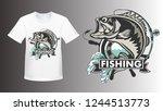 fishing bass shirt mockup logo. ... | Shutterstock .eps vector #1244513773