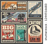 animals and weapon of hunting... | Shutterstock .eps vector #1244516683