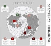 arctic map with countries... | Shutterstock .eps vector #1244517370