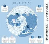 arctic map with countries... | Shutterstock .eps vector #1244519566