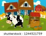 cartoon rural scene with farm... | Shutterstock . vector #1244521759