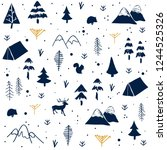seamless pattern with christmas ... | Shutterstock .eps vector #1244525326