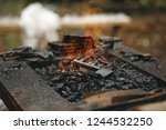 forge brazier with very hot... | Shutterstock . vector #1244532250