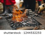 forge brazier with very hot... | Shutterstock . vector #1244532253