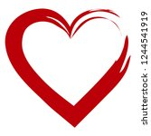 red hand drawn passion heart... | Shutterstock .eps vector #1244541919