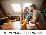 lovely couple enjoying romantic ...   Shutterstock . vector #1244552119