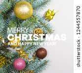 merry christmas and happy new... | Shutterstock . vector #1244557870