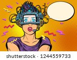 surprised woman in vr glasses.... | Shutterstock .eps vector #1244559733