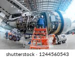airplane mechanic diagnose... | Shutterstock . vector #1244560543