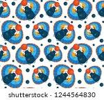 scarab beetle seamless pattern. ... | Shutterstock .eps vector #1244564830