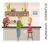 modern restaurant  bar or... | Shutterstock .eps vector #1244567110