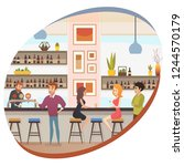 modern restaurant bar  cafe or... | Shutterstock .eps vector #1244570179