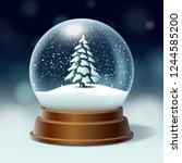 crystal ball  snowball with... | Shutterstock .eps vector #1244585200