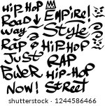 many graffiti tags on a white... | Shutterstock .eps vector #1244586466
