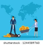 digital mining bitcoin | Shutterstock .eps vector #1244589760