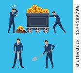set of digital mining bitcoin... | Shutterstock .eps vector #1244589796