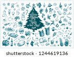 christmas toys  food  drinks... | Shutterstock .eps vector #1244619136