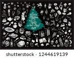 christmas toys  food  drinks... | Shutterstock .eps vector #1244619139