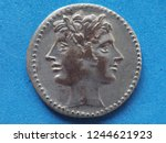 ancient roman coin with janus... | Shutterstock . vector #1244621923
